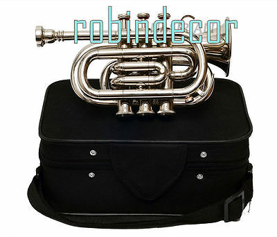 AAA Quality Gold Lacquer Pocket Trumpet Cornet Nekel Large bell Horn with Box