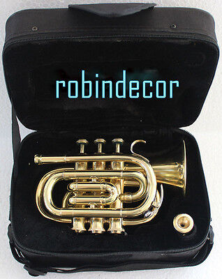 AAA-Quality-Gold-Lacquer-Pocket-Trumpet-Brass Cornet-Large-bell-Horn-with-Box