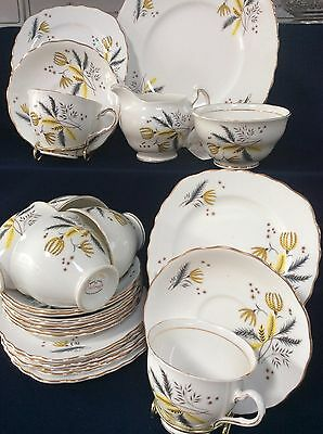 Colclough Stardust 6791 6 Person Tea Set Cake Plate Sugar Bowl Milk Jug