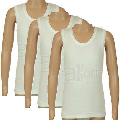 New Boys Childrens 3 Pack UK Made Quality 100% Cotton White Vests 1 - 13 Years