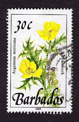 1989 Barbados 30c Hollyhock SG895 GOOD USED R31910