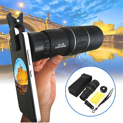 16X52 Zoom Monocular Telescope Camera Lens Hiking Travel+Clip For Iphone Samsung
