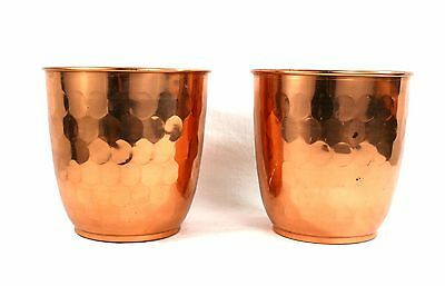 Vintage Mid Century Copper Pot Planters Jardiniere Pair Hammered Made In England