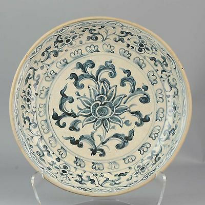 37.5CM 15/16C Ming Chinese Annamese Vietnamese Flowers Charger Porcelain Swatow