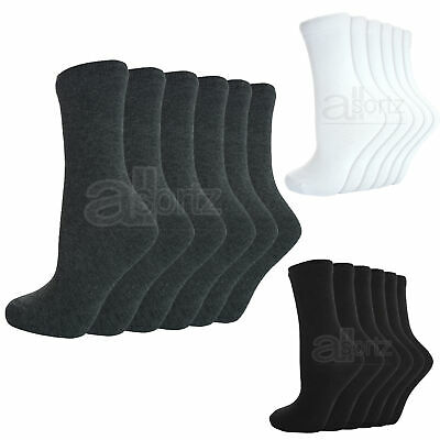 New 6 Pairs Plain Boys Girls Childrens Kids Cotton Rich School Ankle Socks
