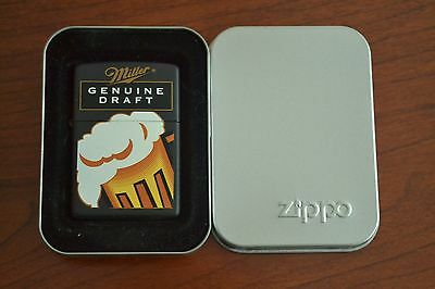 ZIPPO Lighter, Miller Genuine Draft, Beer Mug, Black, XVI/2000, Sealed, M462