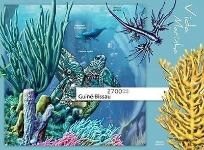 Deluxe Imperf Guinea Bissau 2013 Marine Life Fish Whale Corals Turtle S/s Mnh