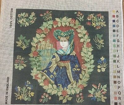 Lady in BlueTapestry Needlepoint with Bonus Sample Anchor material    *** NEW***