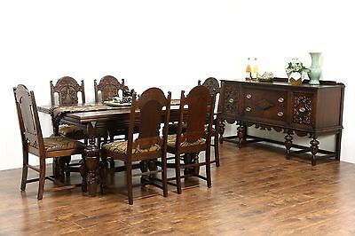 English Tudor 1920 Antique Oak Dining Set, Table, 6 Chairs, New Upholstery