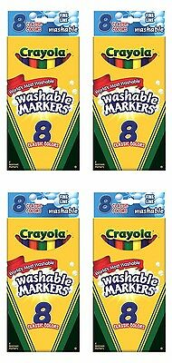 Crayola 8ct Fine Line Washable Markers x4 LOT Classic Colors