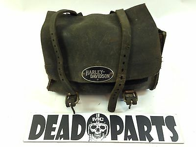 Harley thick leather sissy bar front fork tool bag pouch chopper