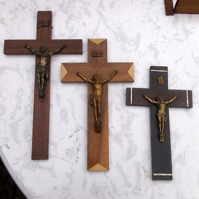 3 Vintage French Wood & Metal Religious Wall Cross Crucifix