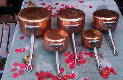 Set of 5 Vintage French Copper Saucepans with Stainless Steel Lining