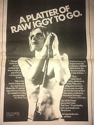 1973 Vintage Iggy Pop Raw  Power Album Advertisement Pinup Poster Records Bowie
