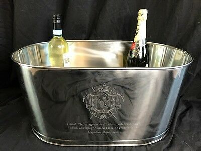 XL Silver Plate Engraved Napoleon Bollinger Champagne Wine Cooler Ice Bath Bowl