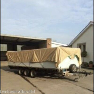 Used Ifor Williams LM186 Tri Axle flat bed Trailer with high solid sides