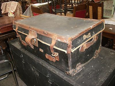 2' 6 Vintage Black Travel Trunk Leather Fittings Old Suitcase Chest Luggage Prop