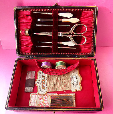 Antique Sewing Case,pearl Stiletto,crochet Hook,tweezers,needles ,spools Etc.,