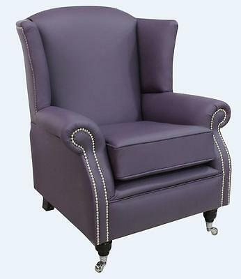 Southwold Fireside High Back Wing Armchair Amethyst Purple Leather