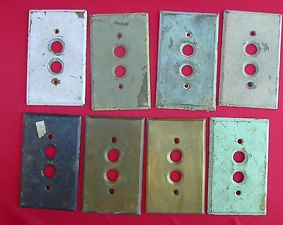 Vintage Brass Wall Switch 2 Push Button Cover Plates - Lot of 8