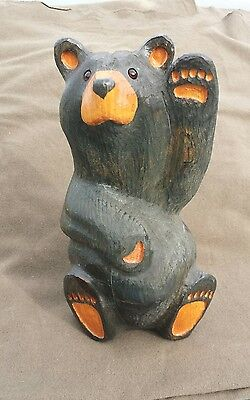 "Big Sky Carvers 13"" Tall Wooden Bear Western Pine Carved by Jeff Fleming Waving"