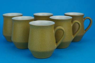 EXCELLENT SET of 6  DENBY ODE Coffee CUPS / Small MUGS  1st