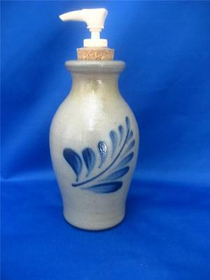 "Rowe Pottery Works Soap Dispenser Stoneware RPW Country Home Pump 6"" Container"