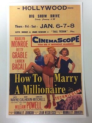 MARILYN MONROE POSTCARD 1953 Bacall Grable Millionaire theatre poster