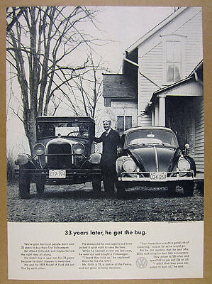 1963 VW Volkswagen Beetle & 1929 Ford Model A photo vintage print Ad