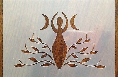 Wicca Goddess Crescent Moon/Vines/Leaves/Mother Earth Mylar Stencil  Craft