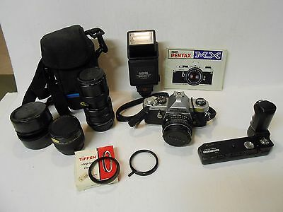Asahi Pentax MX 35mm SLR Camera with Lens and Attachments