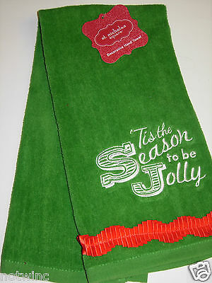 St Nicholas Square Christmas Hand Towel Decor Tis the Season to be Jolly NWT