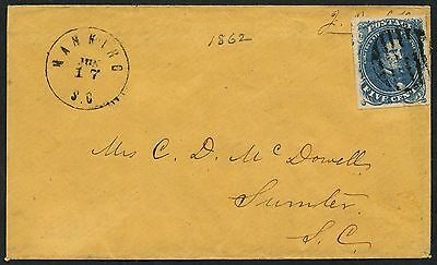 Csa #4 Superb Used On Cover Manning, S.c Jun 17 To Sumter, S.c Cv $1,200 Wlm3507