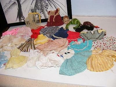 Huge LOT Vintage 1950s GINNY Vogue DOLL clothing Dress Outfits Doll Head & Wigs