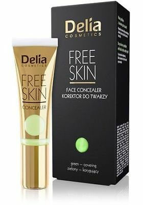 DELIA COSMETICS FREE SKIN FACE CONCEALER - GREEN - CORRECTING 10 ml