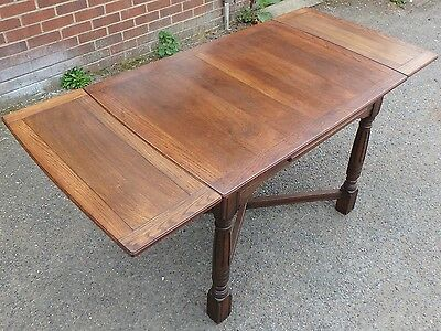 Art Deco antique utility oak draw leaf extending kitchen dining table seats 6