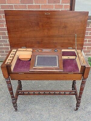 Victorian antique Arts Crafts solid walnut metamorphic fitted writing table desk