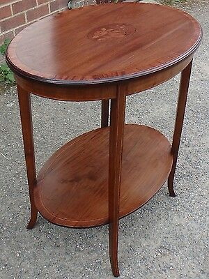 Edwardian antique solid mahogany floral marquetry inlaid oval side lamp table