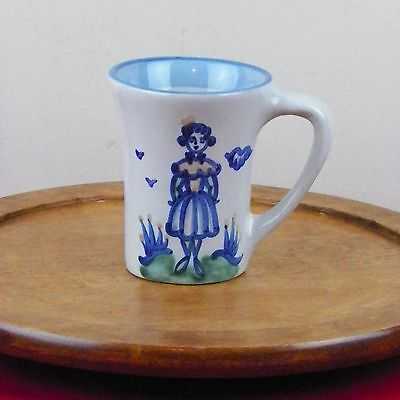 """Vintage M A Hadley Flared Tall Mug Wife The End Pottery Signed Blue 4 3/4"""""""