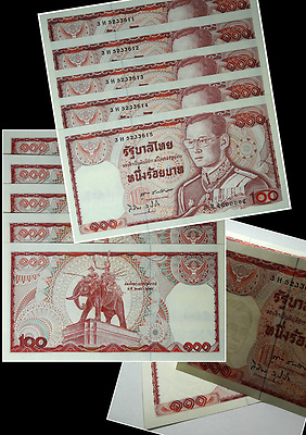 5pcs Number Sorting Unc Money Banknotes Thai 100 Baht 1978 Elephant King Rama IX