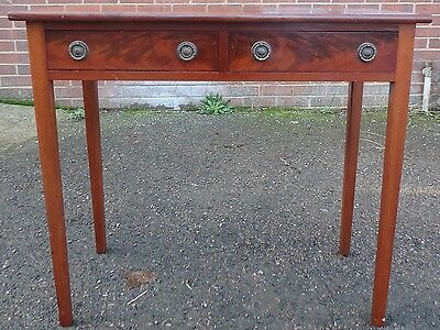 Victorian antique solid Cuban flame mahogany 2 drawer library writing table desk