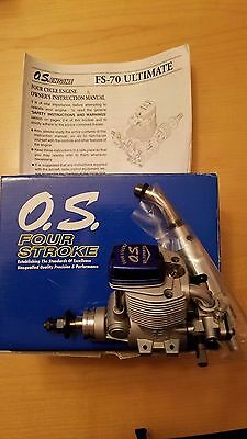 O.S four stroke FS 70 ultimate  r/c airplane engine new in the box with muffler