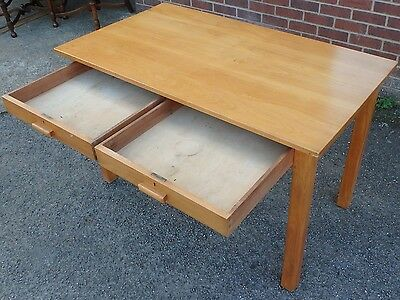 Art Deco antique solid beech 2 drawer vintage library writing table office desk