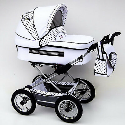 Classic Pram 09 Stroller Pushchair for Baby 2 in 1 Travel System Pumped Wheels