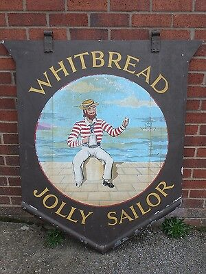 1930s vintage hand painted tin metal Whitbread Jolly Sailor advertising pub sign