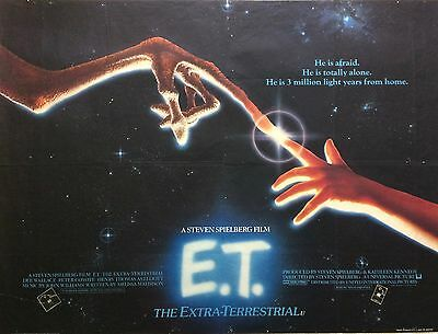 E.T. Original British Movie Quad 1982 Steven Spielberg, Drew Barrymore