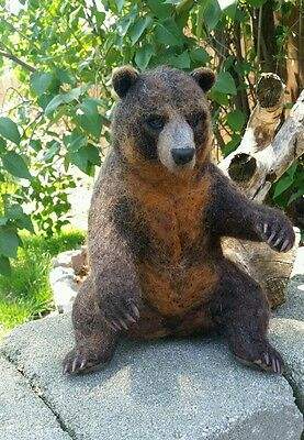 OOAK Needle Felted Realistic Grizzly Bear Brown by Tatiana Trot