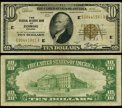FR. 1860 E $10 1929 Federal Reserve Bank Note Richmond Erasure Fine+