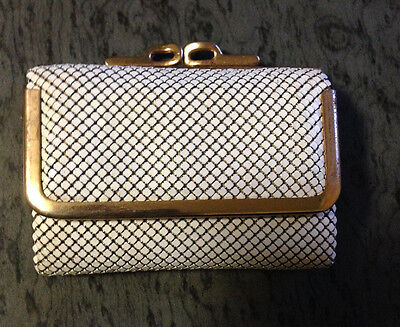 Vintage Cream And Gold Glomesh Bi Fold Wallet And Coin Purse Kiss Close