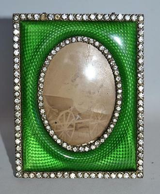 Vintage 1920s French Paste Stones Bronze and Enamel Picture Frame